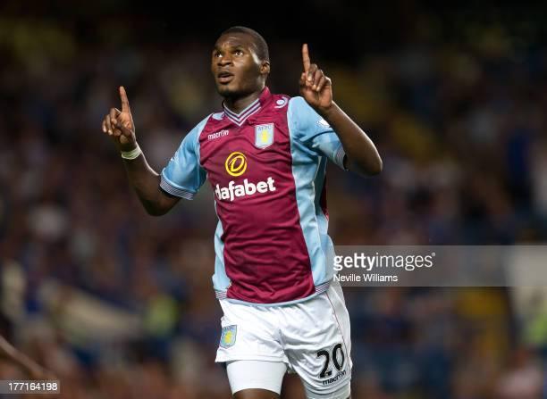 Christian Benteke of Aston Villa celebrates his goal for Aston Villa during the Barclays Premier League match between Chelsea and Aston Villa at...