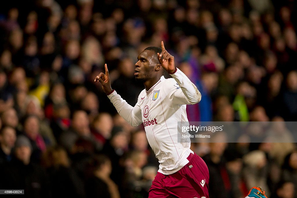 Christian Benteke of Aston Villa celebrates his goal for Aston Villa during the Barclays Premier League match between Crystal Palace and Aston Villa at Selhurst Park on December 02, 2014 in London, England.