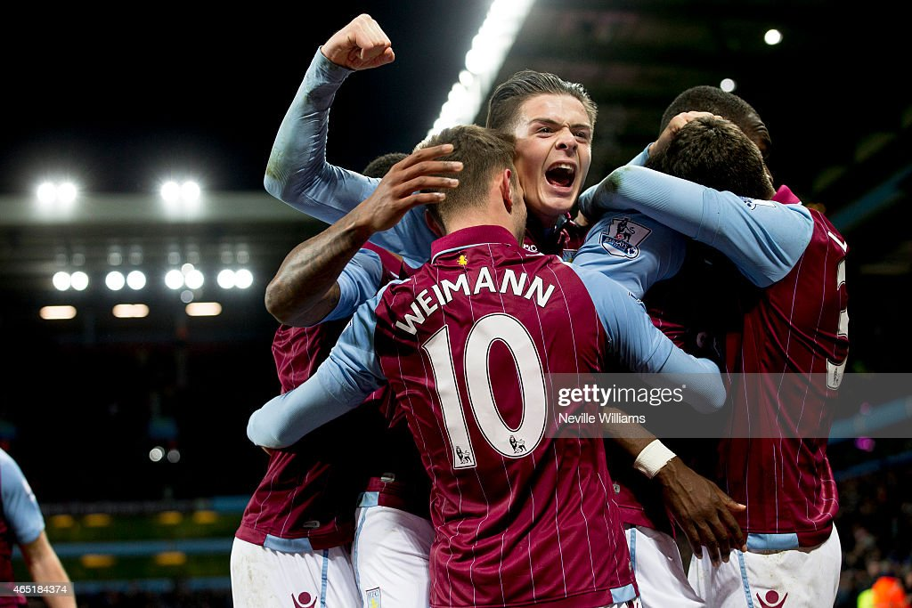 Christian Benteke of Aston Villa celebrates his goal for Aston Villa during the Barclays Premier League match between Aston Villa and West Bromwich Albion at Villa Park on March 03, 2015 in Birmingham, England.