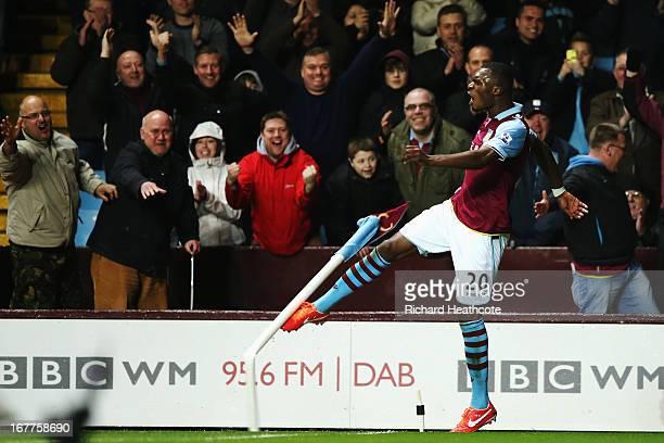 Christian Benteke of Aston Villa celebrates scoring during the Barclays Premier League match between Aston Villa and Sunderland at Villa Park on...