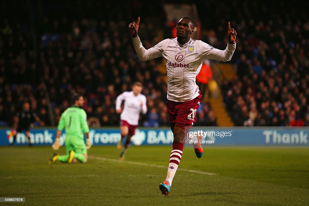 Christian Benteke of Aston Villa celebrates scoring his team's first goal during the Barclays Premier League match between Crystal Palace and Aston Villa at Selhurst Park on December 2, 2014 in London, England.