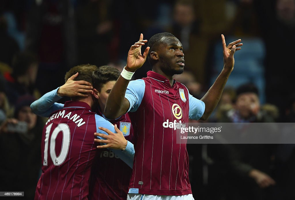 Christian Benteke of Aston Villa celebrates scoring their second goal from the penalty spot during the Barclays Premier League match between Aston Villa and West Bromwich Albion at Villa Park on March 3, 2015 in Birmingham, England.