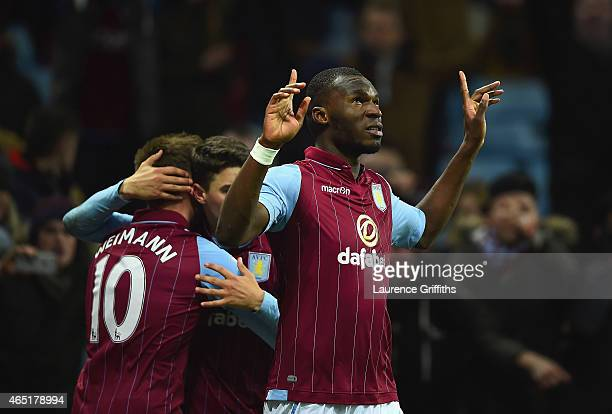Christian Benteke of Aston Villa celebrates scoring their second goal from the penalty spot during the Barclays Premier League match between Aston...