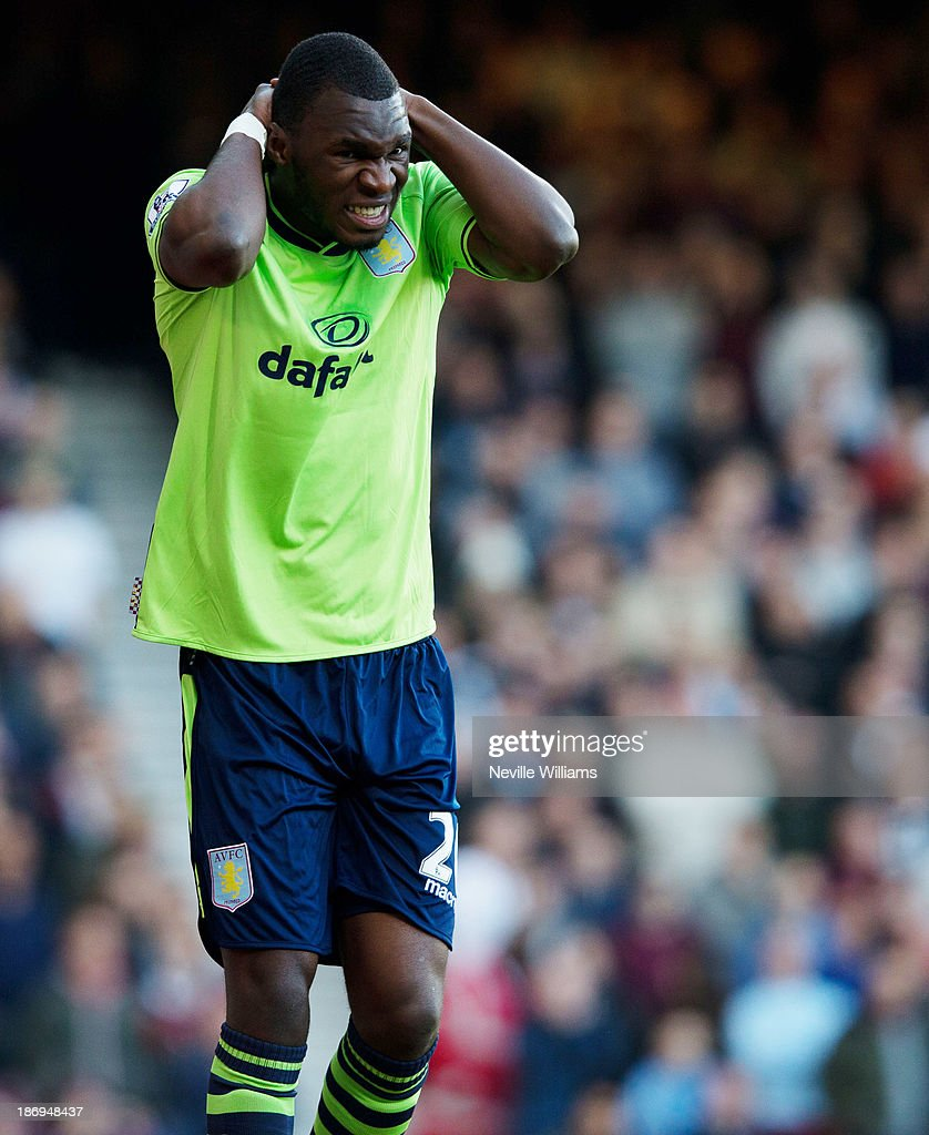 Christian Benteke of Aston Villa despairs during the Barclays Premier League match between West Ham United and Aston Villa at the Boleyn Ground on November 02, 2013 in London, England.