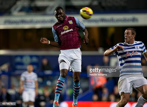 Christian Benteke of Aston Villa during the Barclays Premier League match between Queens Park Rangers and Aston Villa at Loftus Road on October 27...