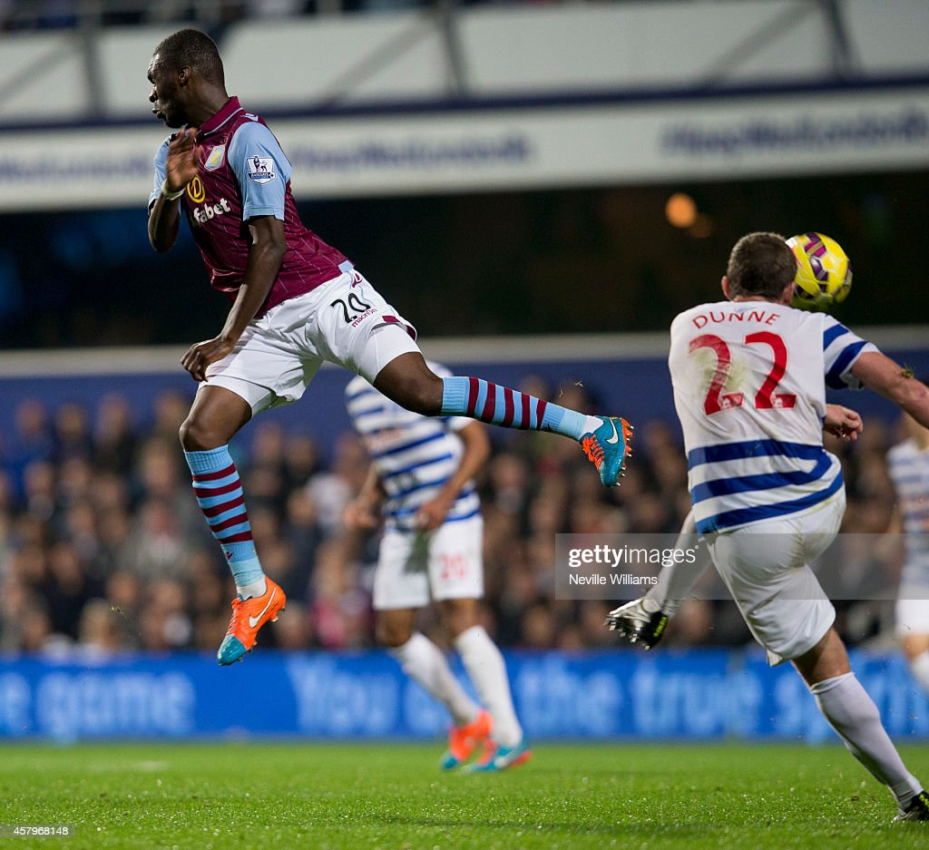 Christian Benteke of Aston Villa during the Barclays Premier League match between Queens Park Rangers and Aston Villa at Loftus Road on October 27, 2014 in London, England.