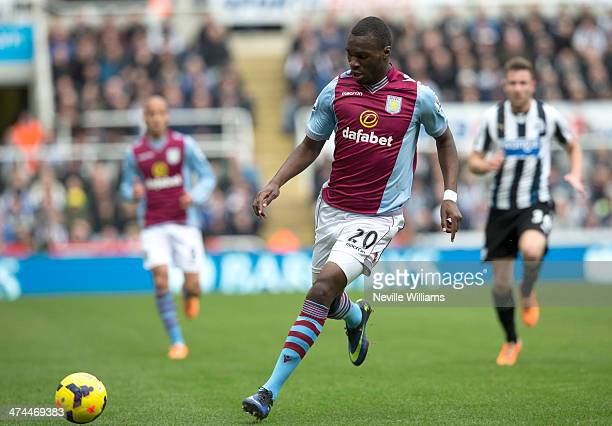 Christian Benteke of Aston Villa during the Barclays Premier League match between Newcastle United and Aston Villa at the St James' Park on February...