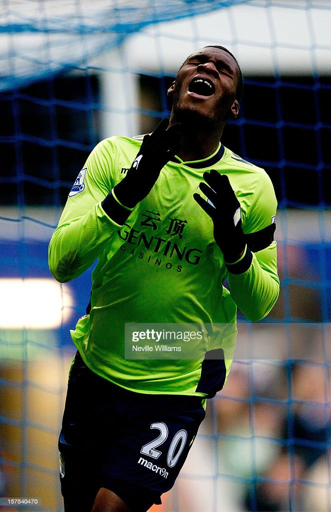 Christian Benteke of Aston Villa reacts during the Barclays Premier League match between Queens Park Rangers and Aston Villa at Loftus Road on December 01, 2012 in London, England.