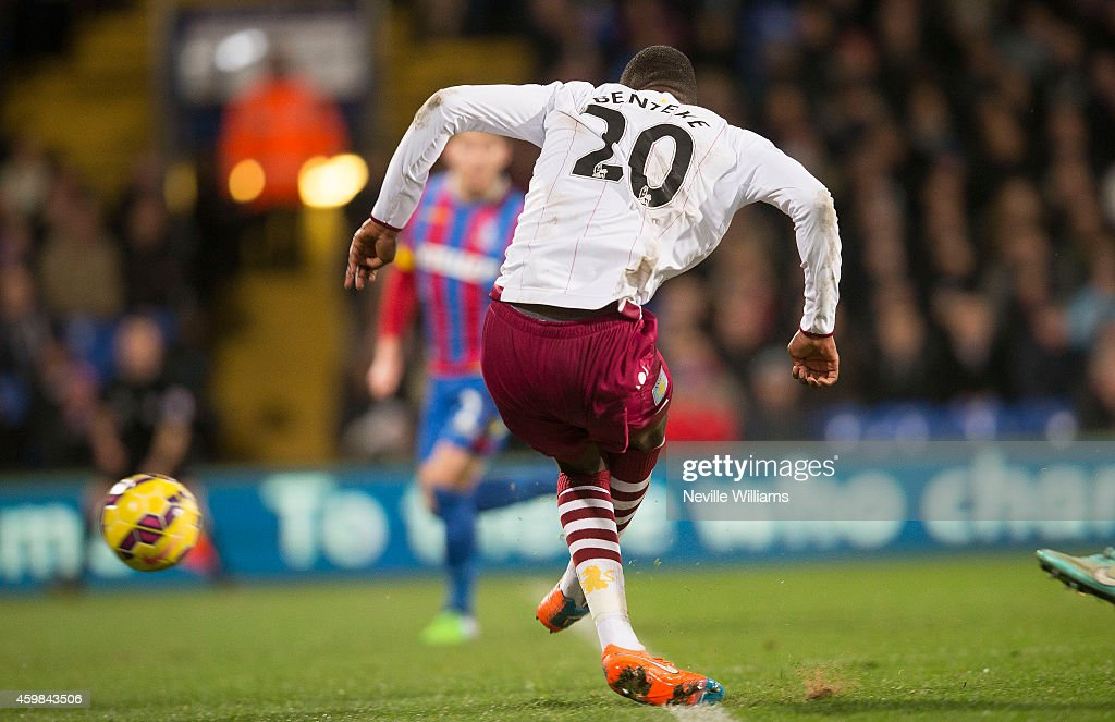 Christian Benteke of Aston Villa scores a goal for Aston Villa during the Barclays Premier League match between Crystal Palace and Aston Villa at Selhurst Park on December 02, 2014 in London, England.