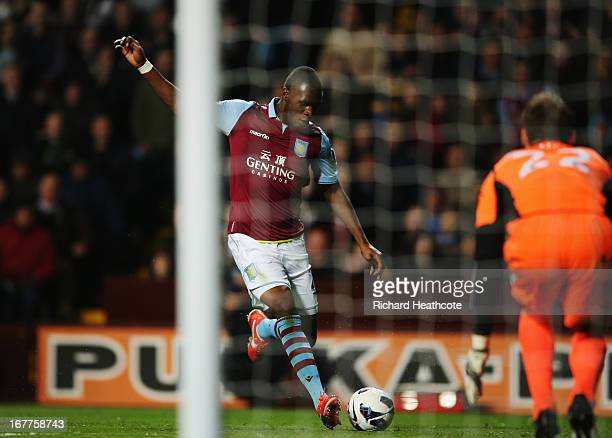 Christian Benteke of Aston Villa scores during the Barclays Premier League match between Aston Villa and Sunderland at Villa Park on April 29, 2013...