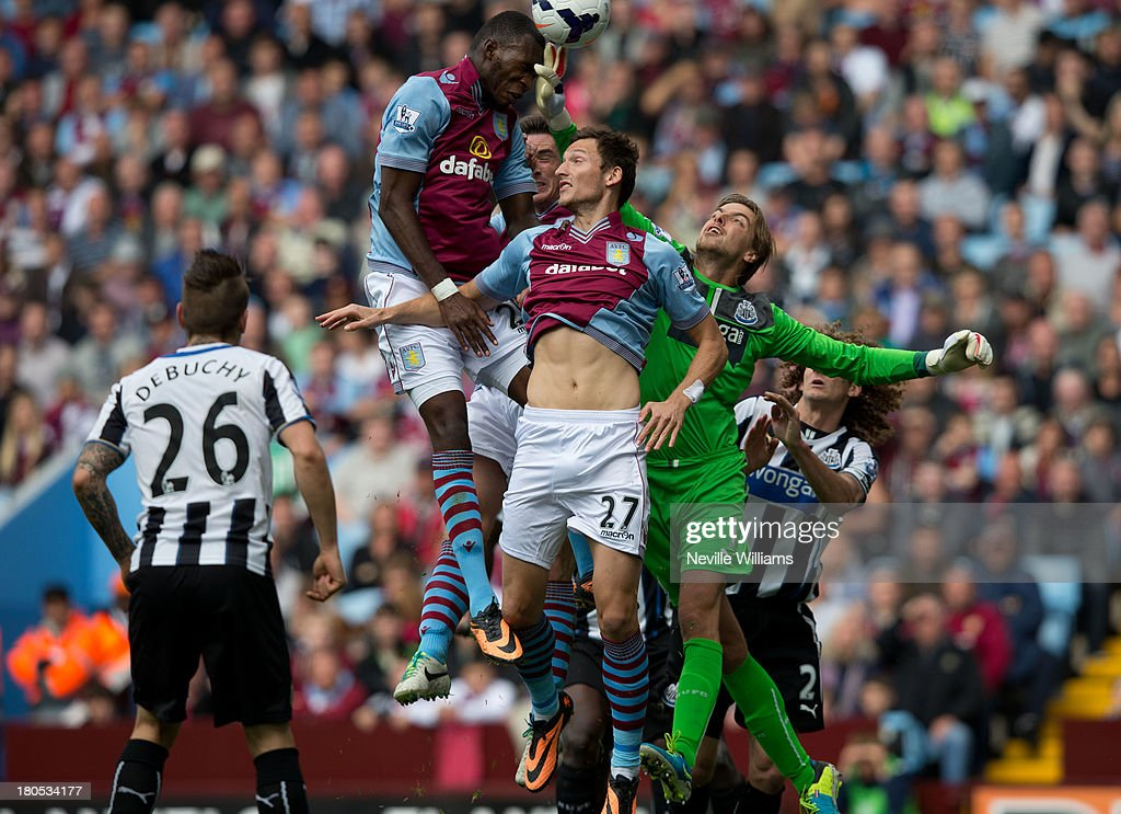 Christian Benteke of Aston Villa scores for Aston Villa during the Barclays Premier League match between Aston Villa and Newcastle United at Villa Park on September 14, 2013 in Birmingham, England.