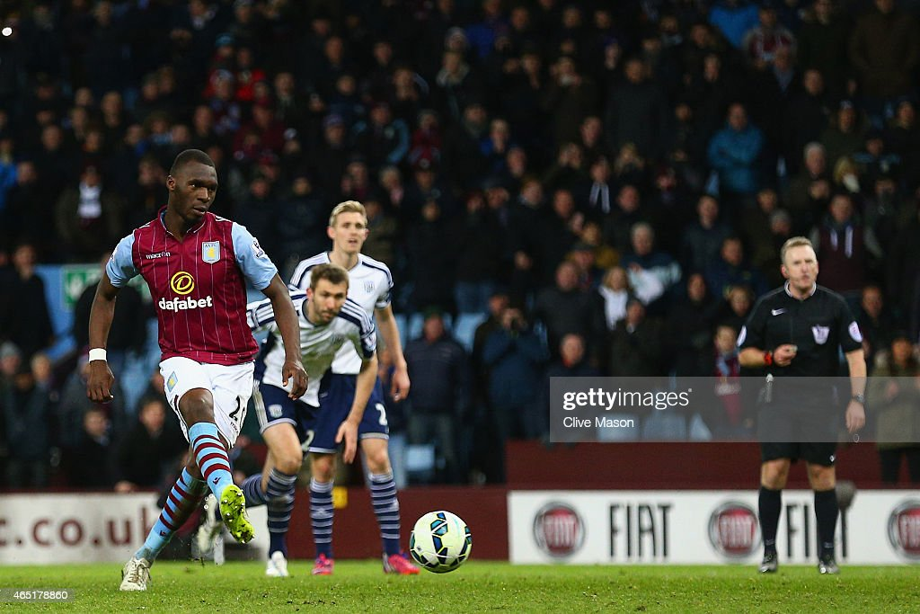 Christian Benteke of Aston Villa scores their second goal from the penalty spot during the Barclays Premier League match between Aston Villa and West Bromwich Albion at Villa Park on March 3, 2015 in Birmingham, England.