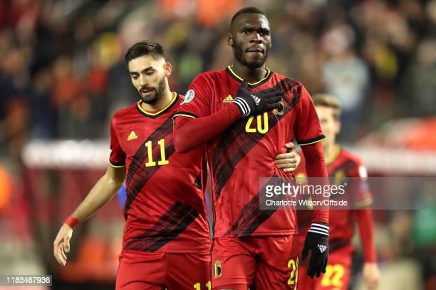 Christian Benteke of Belgium celebrates scoring their 6th goal during the UEFA Euro 2020 Qualifier between Belgium and Cyprus on November 19, 2019 in...