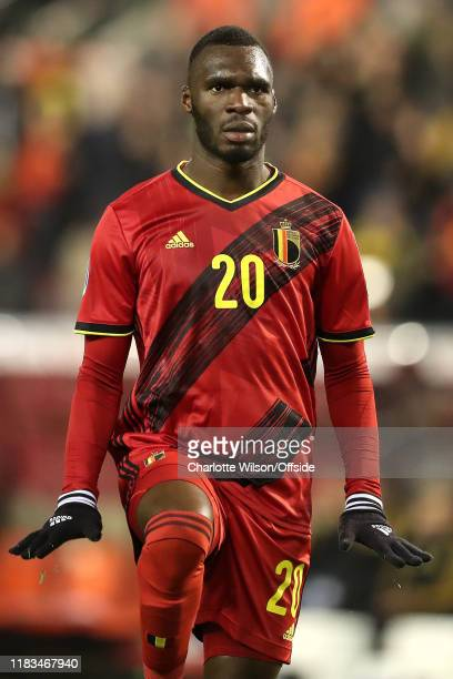 Christian Benteke of Belgium celebrates scoring their 6th goal during the UEFA Euro 2020 Qualifier between Belgium and Cyprus on November 19, 2019 in...