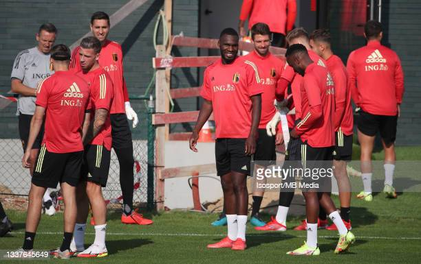 """Christian Benteke of Belgium during a training session of the Belgian national soccer team """" The Red Devils """" ahead of the upcoming FIFA World Cup..."""