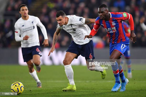 Christian Benteke of Crystal Palace and Dejan Lovren of Liverpool during the Premier League match between Crystal Palace and Liverpool FC at Selhurst...
