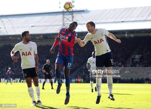 Christian Benteke of Crystal Palace and Eric Dier of Tottenham go up for a header during the Premier League match between Crystal Palace and...