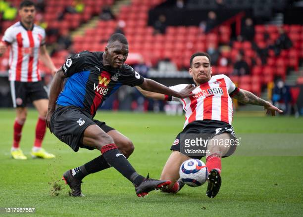 Christian Benteke of Crystal Palace and Kean Bryan of Sheffield United in action during the Premier League match between Sheffield United and Crystal...