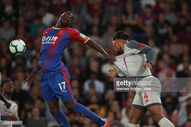 Christian Benteke of Crystal Palace and Virgil van Dijk of Liverpool during the Premier League match between Crystal Palace and Liverpool FC at...