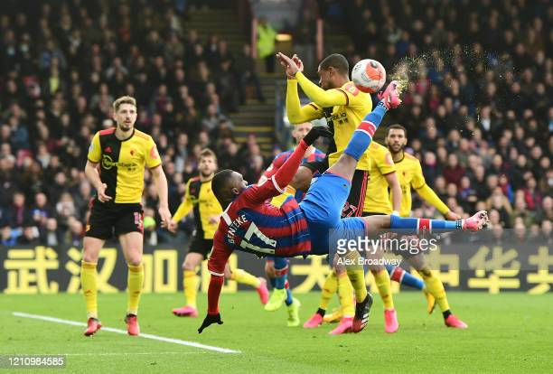 Christian Benteke of Crystal Palace attempts an overhead kick at goal during the Premier League match between Crystal Palace and Watford FC at...