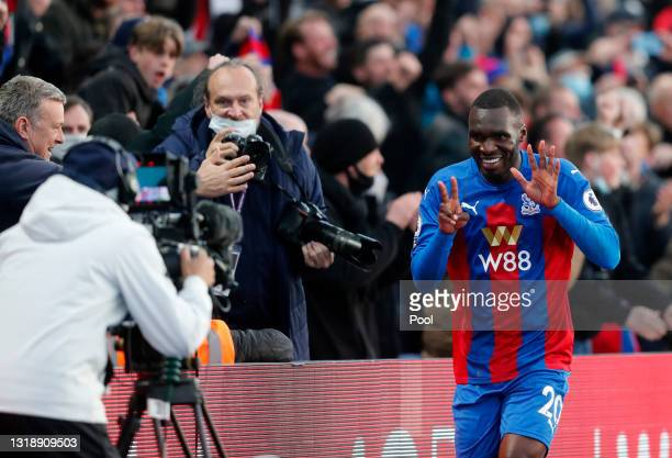 Christian Benteke of Crystal Palace celebrates after scoring his team's first goal during the Premier League match between Crystal Palace and Arsenal...