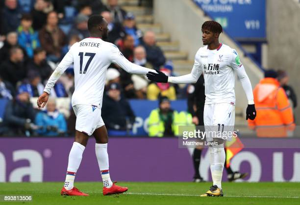 Christian Benteke of Crystal Palace celebrates after scoring his sides first goal with Wilfried Zaha of Crystal Palace during the Premier League...
