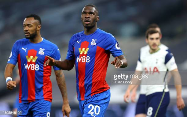 Christian Benteke of Crystal Palace celebrates after scoring their side's first goal during the Premier League match between Tottenham Hotspur and...