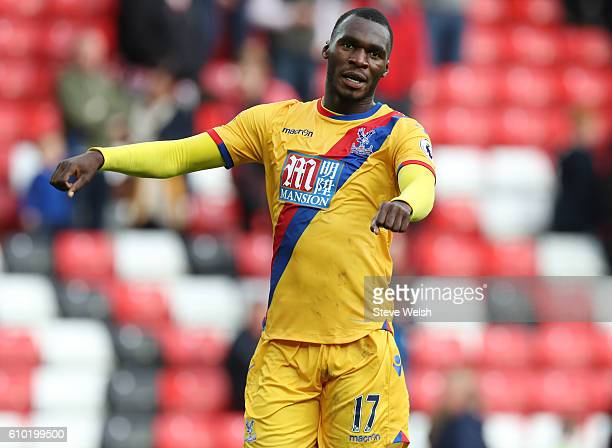 Christian Benteke of Crystal Palace celebrates at the end of the match between Sunderland and Crystal Palace FC on September 24 2016 in Sunderland...