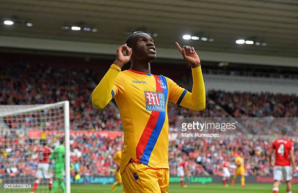 Christian Benteke of Crystal Palace celebrates scoring a goal early in the first half during the Premier League match between Middlesbrough FC and...