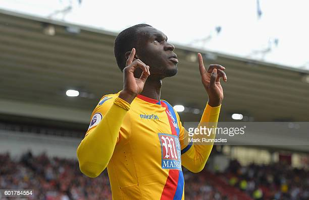 Christian Benteke of Crystal Palace celebrates scoring his sides first goal during the Premier League match between Middlesbrough and Crystal Palace...