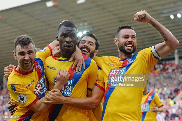 Christian Benteke of Crystal Palace celebrates scoring his sides third goal with his team mates during the Premier League match between Sunderland...