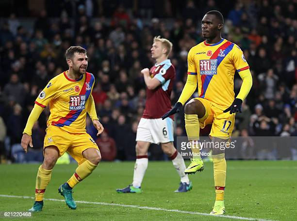 Christian Benteke of Crystal Palace celebrates scoring his sides second goal during the Premier League match between Burnley and Crystal Palace at...