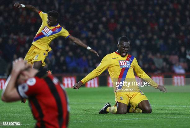 Christian Benteke of Crystal Palace celebrates scoring his side's second goal during the Premier League match between AFC Bournemouth and Crystal...