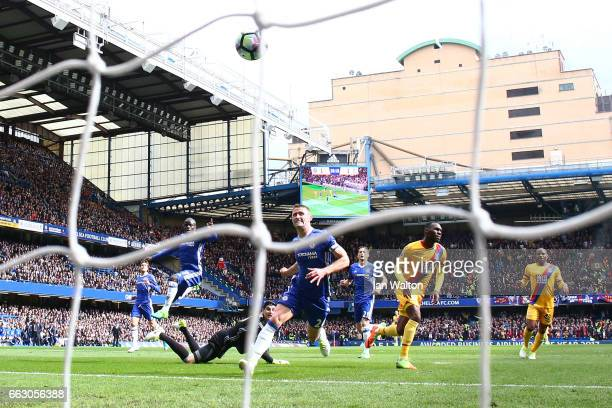 Christian Benteke of Crystal Palace celebrates scoring his sides second goal during the Premier League match between Chelsea and Crystal Palace at...