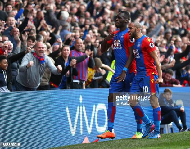 Christian Benteke of Crystal Palace celebrates scoring his sides second goal with Andros Townsend of Crystal Palace during the Premier League match...
