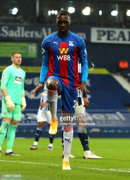 Christian Benteke of Crystal Palace celebrates scoring his teams third goal during the Premier League match between West Bromwich Albion and Crystal...