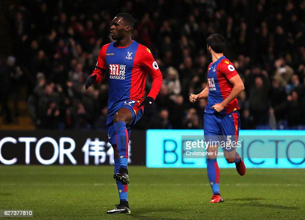 Christian Benteke of Crystal Palace celebrates scoring his team's third goal during the Premier League match between Crystal Palace and Southampton...