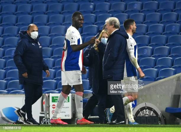 Christian Benteke of Crystal Palace celebrates with Roy Hodgson, Manager of Crystal Palace as he leaves the pitch after the Premier League match...