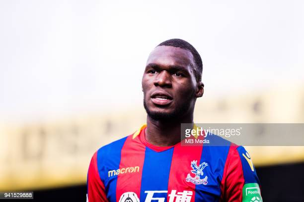 Christian Benteke of Crystal Palace during the Premier League match between Crystal Palace and Liverpool at Selhurst Park on March 31 2018 in London...