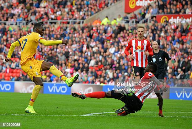 Christian Benteke of Crystal Palace has a shot on goal in the second half during the Premier League match between Sunderland FC and Crystal Palace FC...