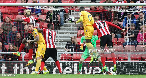 Christian Benteke of Crystal Palace heads in his goal during the Premier League match between Sunderland and Crystal Palace FC on September 24 2016...