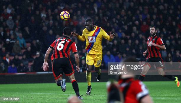 Christian Benteke of Crystal Palace heads the ball to score his side's second goal during the Premier League match between AFC Bournemouth and...