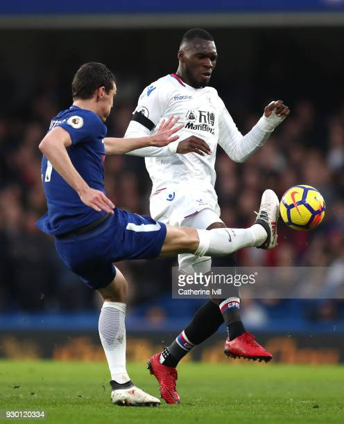 Christian Benteke of Crystal Palace is challenged by Andreas Christensen of Chelsea during the Premier League match between Chelsea and Crystal...