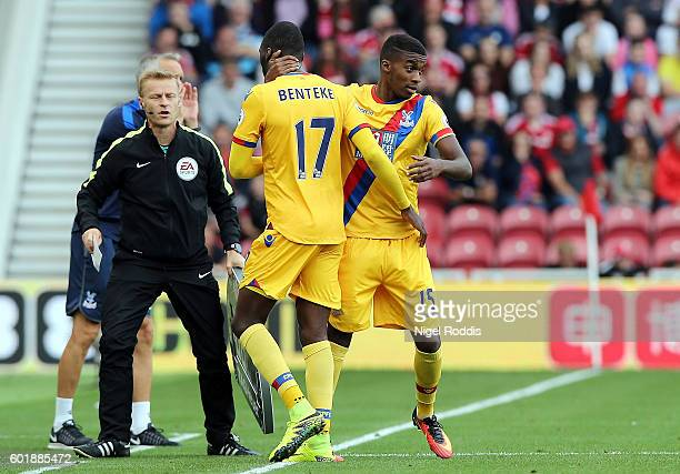 Christian Benteke of Crystal Palace is subbed for Jonathan Benteke during the Premier League match between Middlesbrough and Crystal Palace at...