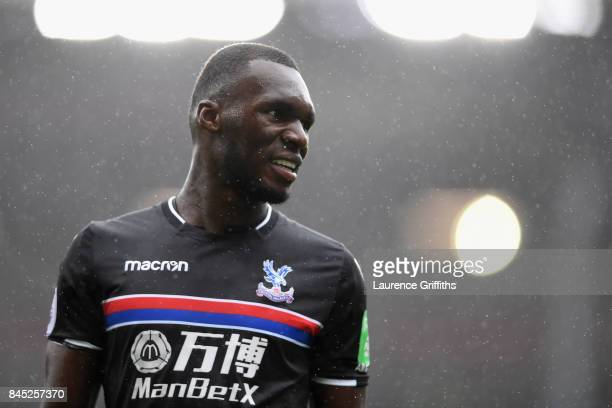 Christian Benteke of Crystal Palace looks on during the Premier League match between Burnley and Crystal Palace at Turf Moor on September 10 2017 in...