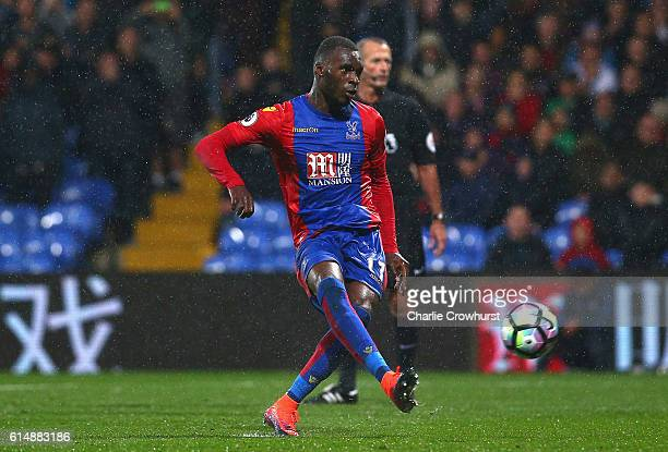 Christian Benteke of Crystal Palace misses a penalty kick during the Premier League match between Crystal Palace and West Ham United at Selhurst Park...