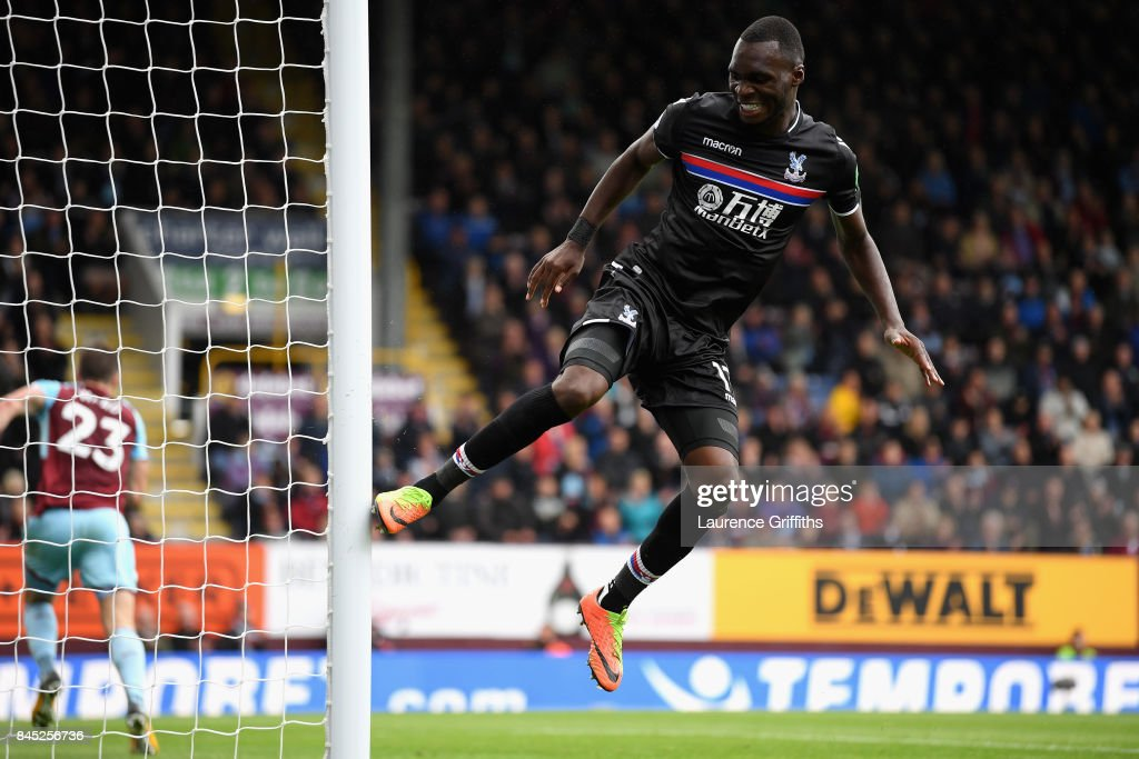 Christian Benteke of Crystal Palace reacts after missing a chance during the Premier League match between Burnley and Crystal Palace at Turf Moor on September 10, 2017 in Burnley, England.