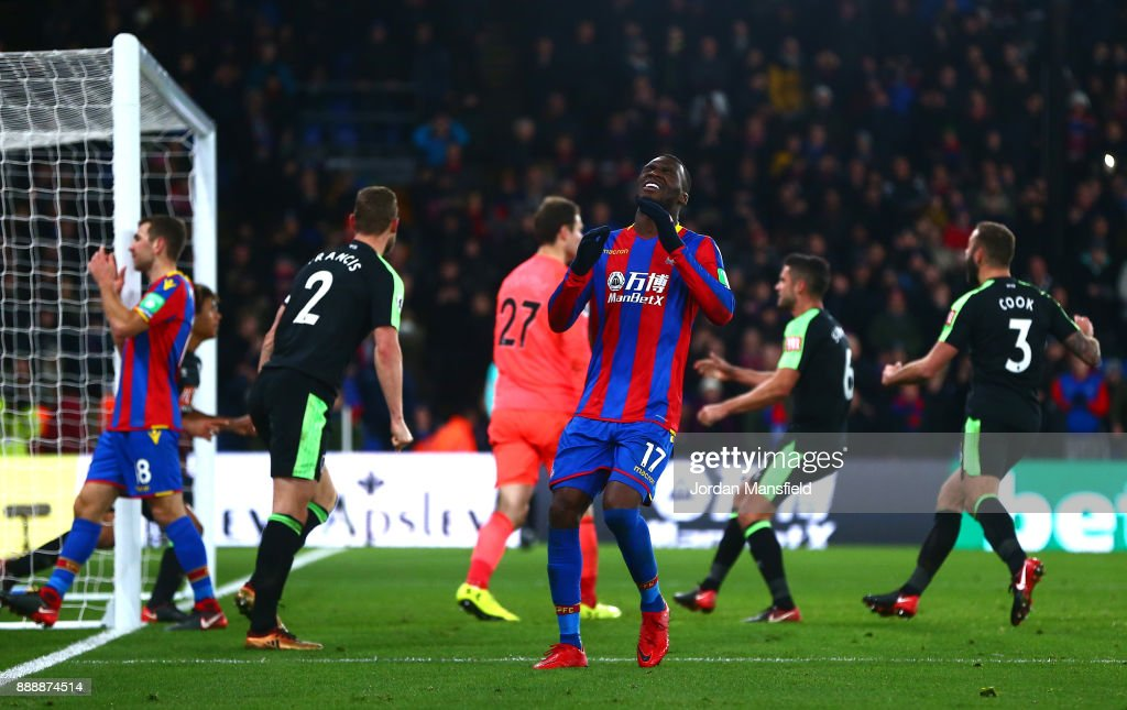 Christian Benteke of Crystal Palace reacts after missing a penatly during the Premier League match between Crystal Palace and AFC Bournemouth at Selhurst Park on December 9, 2017 in London, England.
