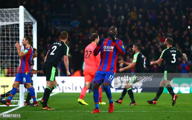 Christian Benteke of Crystal Palace reacts after missing a penatly during the Premier League match between Crystal Palace and AFC Bournemouth at...