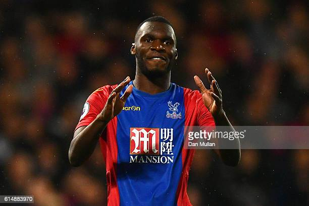 Christian Benteke of Crystal Palace reacts during the Premier League match between Crystal Palace and West Ham United at Selhurst Park on October 15...